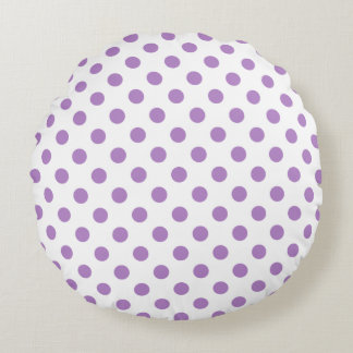 Thistle Purple Polka Dots Circles Round Pillow