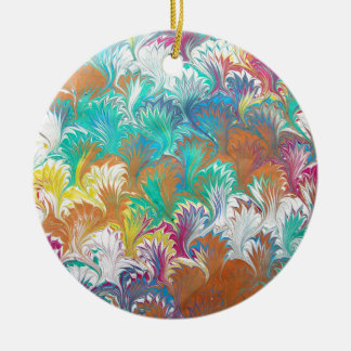 Thistle Water Marbling Round Ceramic Ornament