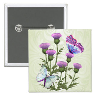Thistles and Butterflies 2 Inch Square Button