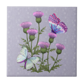 Thistles and Butterflies on Mauve Tile