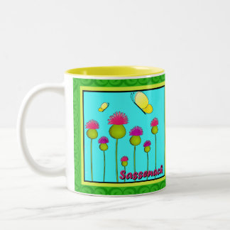 Thistles, Butterflies, and Sassenach Two-Tone Coffee Mug