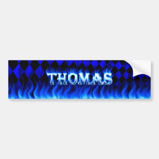 Thomas blue fire and flames bumper sticker design