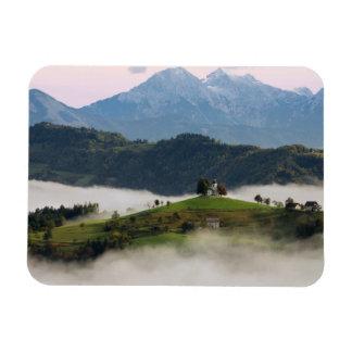 Thomas church and mountains, Slovenia rect magnet