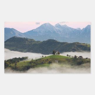 Thomas church and mountains, Slovenia rectangle Sticker