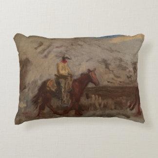 Thomas Eakins - Sketch of a Cowboy at Work Decorative Pillow