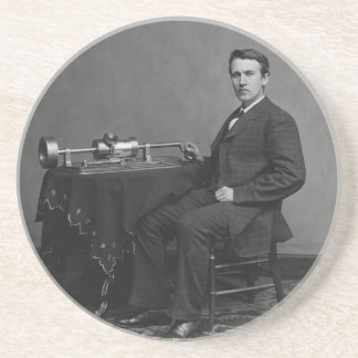 Thomas Edison and His Early Phonograph Beverage Coaster