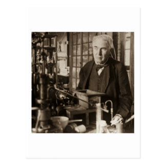 Thomas Edison in His Lab Stereoview Postcard