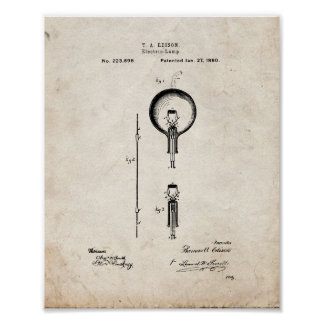 Thomas Edison Light Bulb Patent - Old Look Poster
