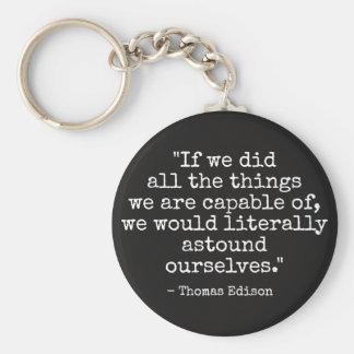 Thomas Edison quote Basic Round Button Keychain