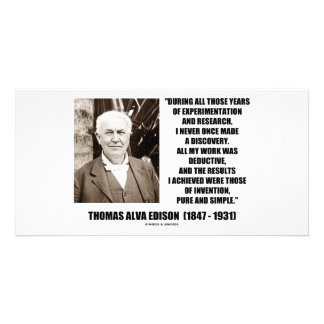 Thomas Edison Results Invention Pure Simple Quote Custom Photo Card