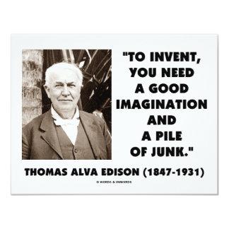 "Thomas Edison To Invent Imagination Pile Of Junk 4.25"" X 5.5"" Invitation Card"