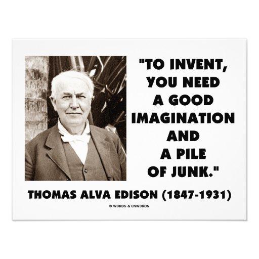 Thomas Edison To Invent Imagination Pile Of Junk Personalized Invitation