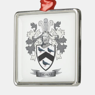 Thomas Family Crest Silver-Colored Square Ornament