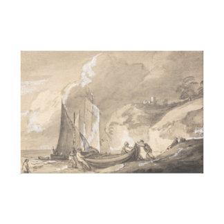 Thomas Gainsborough - Coastal Scene with Figures Canvas Print