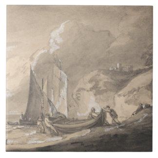 Thomas Gainsborough - Coastal Scene with Figures Tile