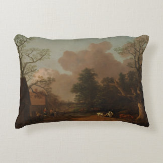 Thomas Gainsborough - Landscape with Milkmaid Accent Pillow