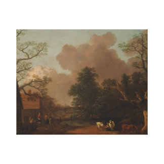 Thomas Gainsborough - Landscape with Milkmaid Canvas Print