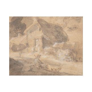 Thomas Gainsborough - Open Landscape with Figures Canvas Print