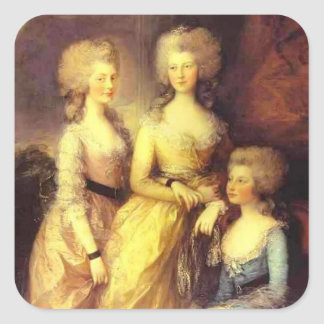 Thomas Gainsborough-Three daughters of George III Square Sticker