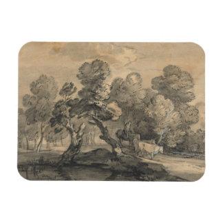 Thomas Gainsborough - Wooded Landscape Rectangular Photo Magnet