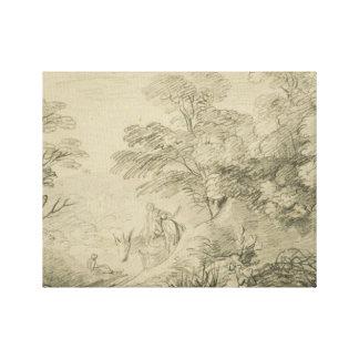 Thomas Gainsborough - Wooded Landscape with Donkey Canvas Print
