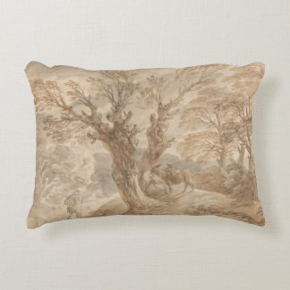 Thomas Gainsborough -Wooded Landscape with Peasant Accent Pillow