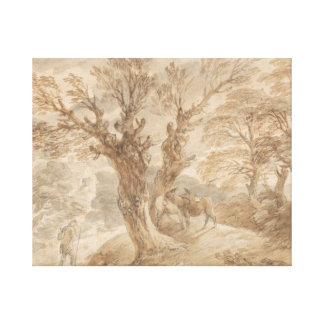 Thomas Gainsborough -Wooded Landscape with Peasant Canvas Print