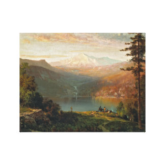 Thomas Hill - Indian by a Lake in a Majestic Canvas Print