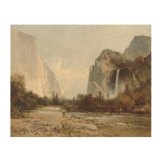 Thomas Hill - Yosemite, Bridal Veil Falls Wood Canvas