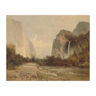 Thomas Hill - Yosemite, Bridal Veil Falls Wood Canvases