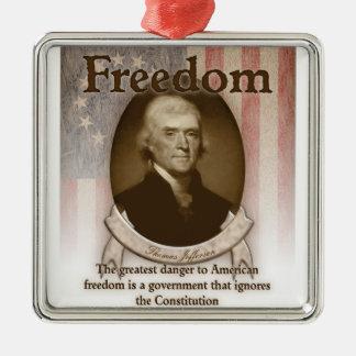 Thomas Jefferson – Freedom Silver-Colored Square Ornament
