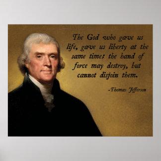 Thomas Jefferson God Quote Poster