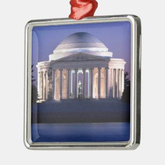 Thomas Jefferson Memorial at Dusk Silver-Colored Square Ornament