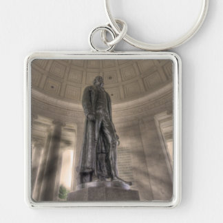 Thomas Jefferson Memorial Bronze Statue Silver-Colored Square Keychain