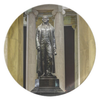 Thomas Jefferson Memorial Statue At Night Plate