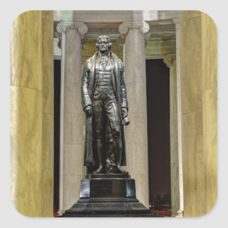 Thomas Jefferson Memorial Statue At Night Square Sticker