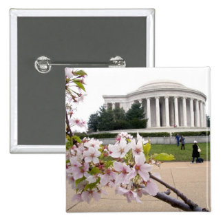 Thomas Jefferson Memorial with cherry blossoms 2 Inch Square Button
