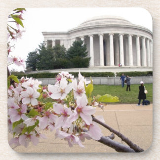 Thomas Jefferson Memorial with cherry blossoms Beverage Coasters