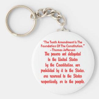 Thomas Jefferson On The 10th Amendment Basic Round Button Keychain