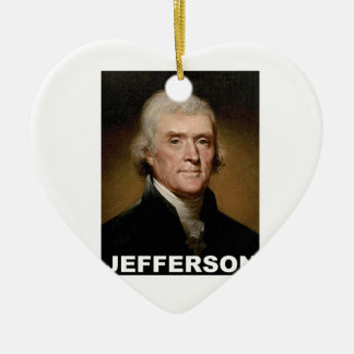 Thomas Jefferson picture Ceramic Heart Ornament