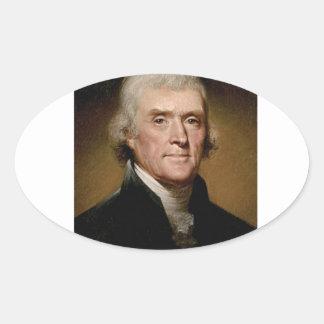 Thomas Jefferson picture Oval Sticker