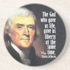 Thomas Jefferson Quote on God and Liberty Coaster