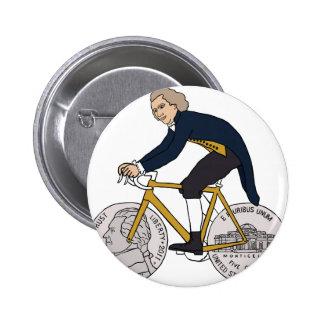 Thomas Jefferson Riding Bike W/ Nickel Wheels 2 Inch Round Button