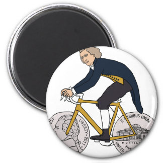 Thomas Jefferson Riding Bike W/ Nickel Wheels 2 Inch Round Magnet