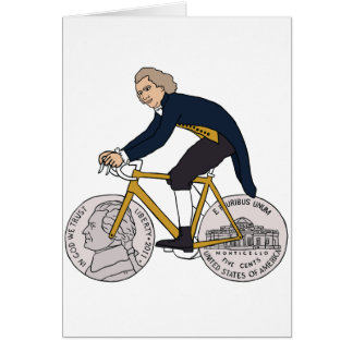 Thomas Jefferson Riding Bike W/ Nickel Wheels Card