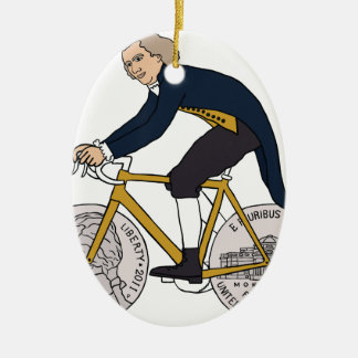 Thomas Jefferson Riding Bike W/ Nickel Wheels Ceramic Oval Ornament
