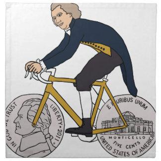 Thomas Jefferson Riding Bike W/ Nickel Wheels Cloth Napkins