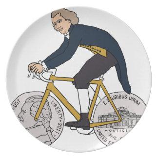 Thomas Jefferson Riding Bike W/ Nickel Wheels Dinner Plate
