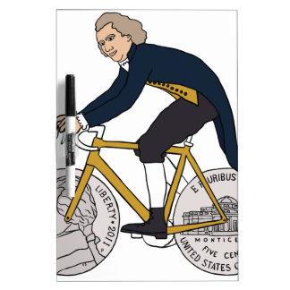 Thomas Jefferson Riding Bike W/ Nickel Wheels Dry Erase Board