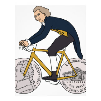 Thomas Jefferson Riding Bike W/ Nickel Wheels Letterhead